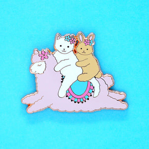 Alpaca ride enamel pin