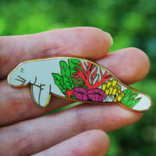 Load image into Gallery viewer, Coral manatee enamel pin