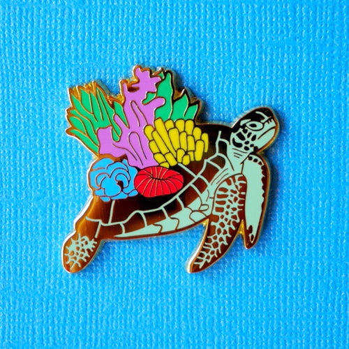 Coral sea turtle enamel pin