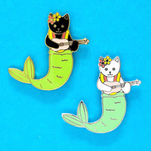 Load image into Gallery viewer, Purrmaid enamel cat pin - white version