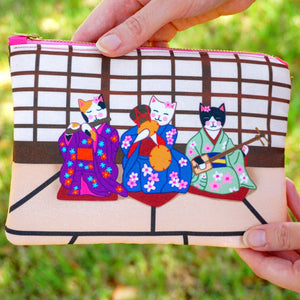 Geisha kitties fabric pouch - smaller size