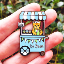 Load image into Gallery viewer, Ice cream stand cat enamel pin