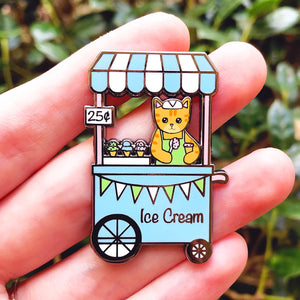 Ice cream stand cat enamel pin
