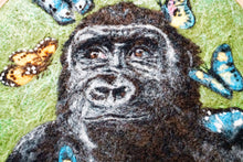Load image into Gallery viewer, Wool painting of gorilla with butterflies