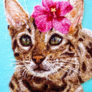 Wool painting of Bengal cat with hibiscus flower