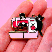 Load image into Gallery viewer, Pink sewing machine kittens enamel pin