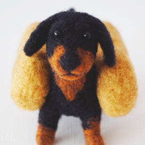 Needle felted black and tan wiener dog