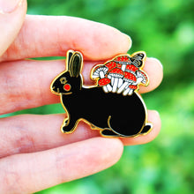 Load image into Gallery viewer, Mushroom bunny enamel pin