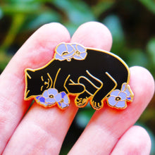Load image into Gallery viewer, Charity pin for FIP research - black cat