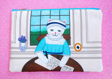 Load image into Gallery viewer, Jane Austen cat fabric pouch - larger size