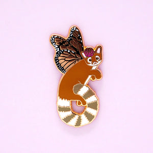 Monarch ringtailed cat enamel pin