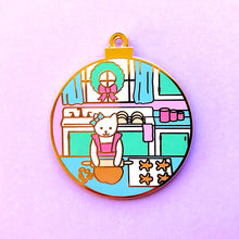 Load image into Gallery viewer, Gingerbread baker cat enamel pin