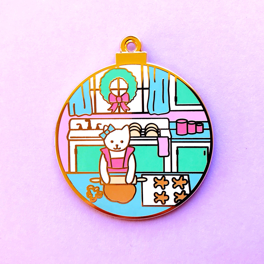 Gingerbread baker cat enamel pin