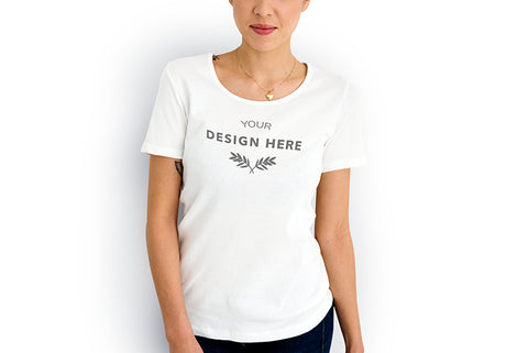 woman wearing customisable design t shirt