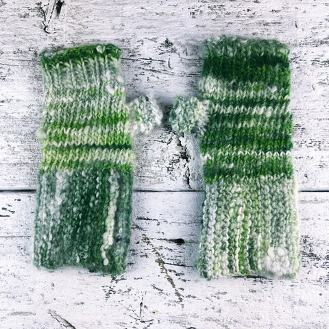 hand knit fingerless gloves ~ hand knit ~ handspun yarn