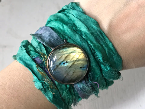 labradorite and sari silk wrap bracelet