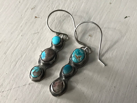 turquoise & sterling silver drop earrings