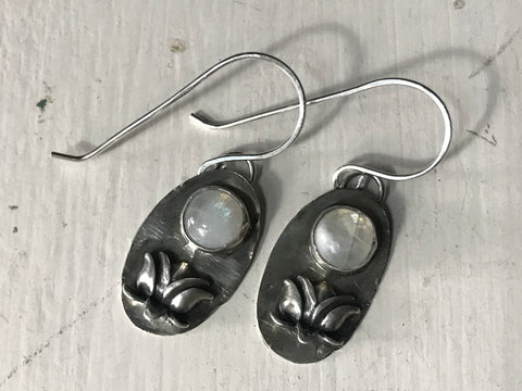 Lotus flower & moonstone ~ sterling silver earrings