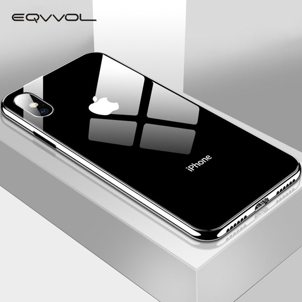 Eqvvol Plating Tempered Glass Phone Case For iphone XS Max XS XR X 8 7 Plus Cover Soft TPU Edge Cases For iphone 6S 6 Plus Coque