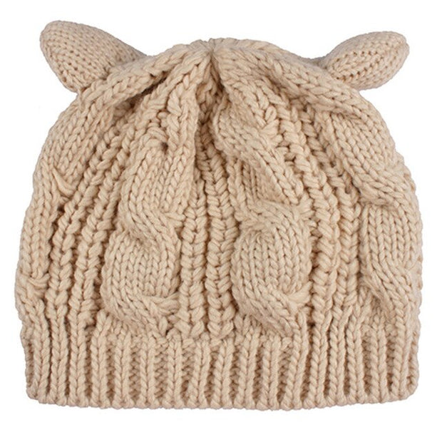 Solid Color Knitted Hat Female lovely Warm Winter Cap Women's Horn Hat Children's Soft Cotton Blends Cute Beanies Hat For Girls