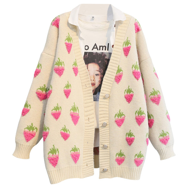 Fashion Strawberry Sweater Coat JK2134