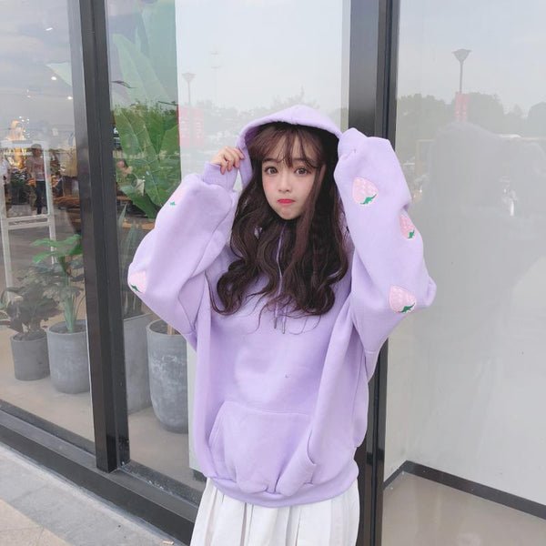 Loose Strawberry Embroidered Hoodie JK1382