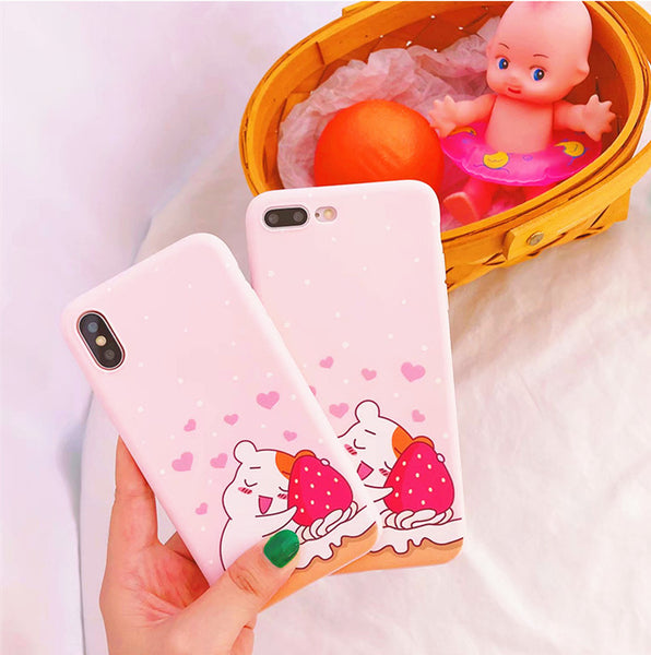 Kawaii Bear and Strawberry Phone Case for iphone 6/6s/6plus/7/7plus/8/8P/X  JK1236
