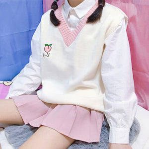 Cute Peach Vest Sweater JK1171