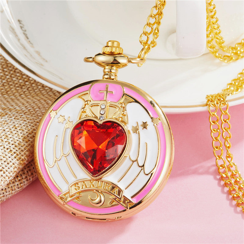 Sailormoon and Sakura Pocket Watch  JK1166
