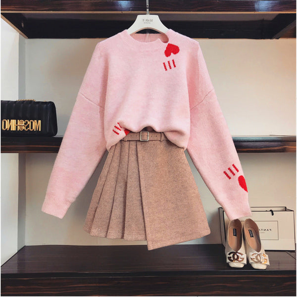 Pink Heart Sweather and Skirt JK1228