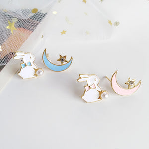 Rabbit and Moon Earrings JK1964