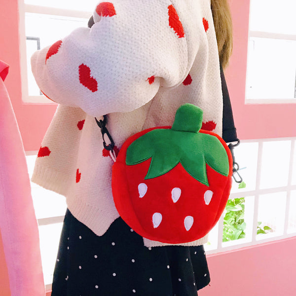 Kawaii Strawberry Plush Shoulder Bag JK1574