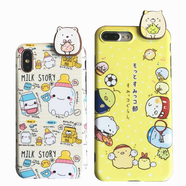 Lovely Cat and Bear Phone Case for iphone 6/6s/6plus/7/7plus/8/8P/X/Xs JK1118