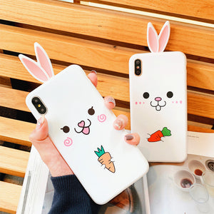 Lovely Rabbit Phone Case for iphone 6/6s/6plus/7/7plus/8/8P/X/XS/XR/XS Max JK1200