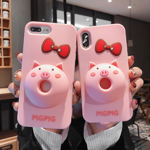 Lovely Butterfly Pig Phone Case for iphone 6/6s/6plus/7/7plus/8/8P/X/XS/XR/XS Max JK1601