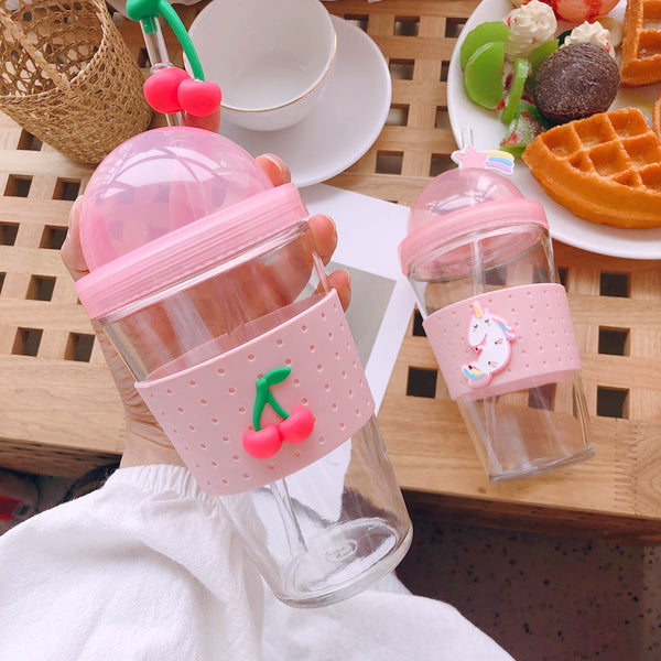 Fresh Strawberry and Unicorn Water Bottle  JK1359