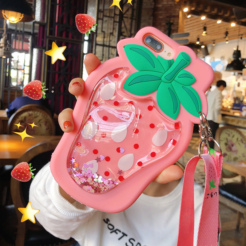 Fashion Liquid Strawberry Phone Case for iphone 6/6s/6plus/7/7plus/8/8P/X/XS/XR/XS Max JK1398