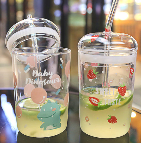Cute Strawberry Glass Water Cup JK2353