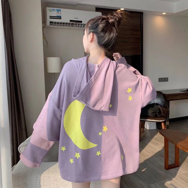 Fashion Moon and Stars Oversize Hoodie JK1877