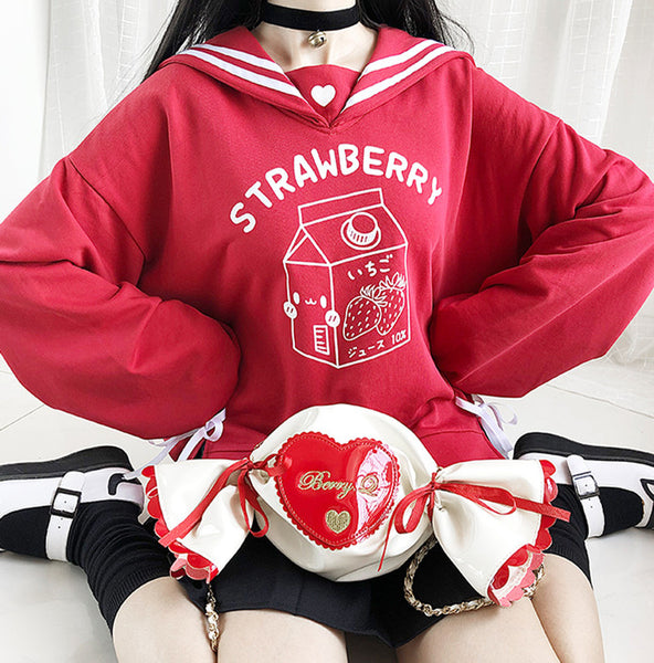Lovely Strawberry Navy Hoodie JK2461