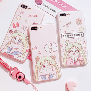 Cute Usagi Phone Case for iphone 6/6s/6plus/7/7plus/8/8P/X JK1116