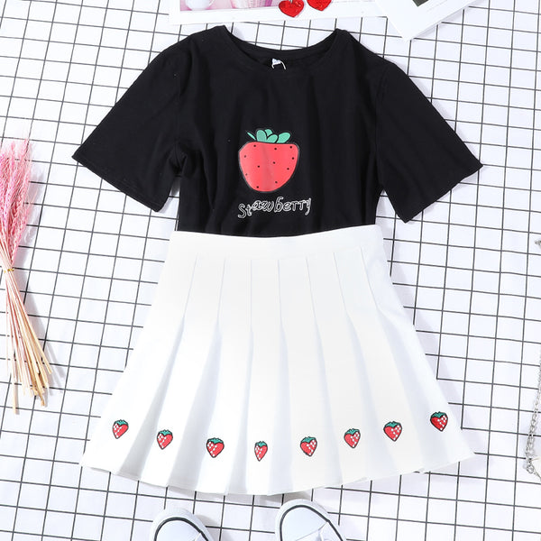 Fashion Strawberry T-shirt and Skirt JK1602