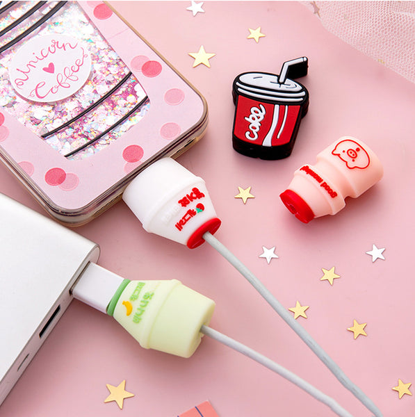 Cartoon Milk Phone Charger Date Wire Protector JK1880