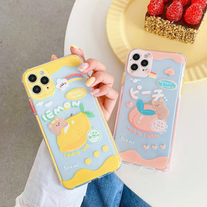 Peach and Lemon Phone Case for iphone7/7plus/8/8P/X/XS/XR/XS Max/11/11 pro/11 pro max JK2314