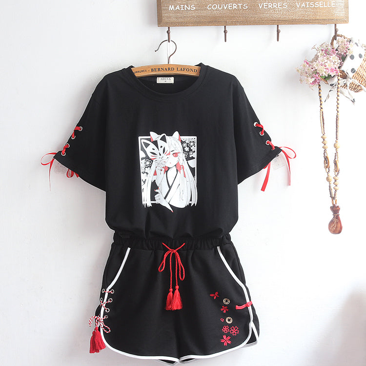 Fashion Black Fox Tshirt and Shorts Set JK2164