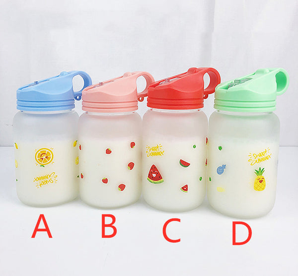 Cute Strawberry and Pineapple Glass Water Bottle  JK1655