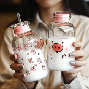 Cute Pigs Glass Water Bottle  JK1977