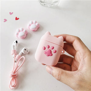 Pink Cats Paw Bottle Airpods Protector  JK1581
