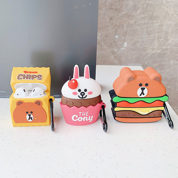 Hamburger Bear and Cony Bottle Airpods Protector  JK1576