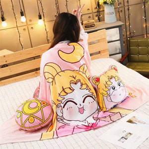 Cartoon Sailormoon Pillow And  Blanket JK2360